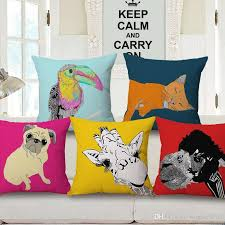 Small Picture Fun Animal Print Cushion Cover Pet Dog Pug Throw Pillow Case