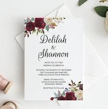Wedding Invitation Template Editable Wedding Invitation Template Floral Marsala Wedding Invitation Instant Download Printable Wedding Invitations Rustic Invitation