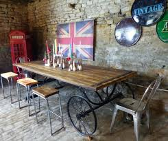 industrial kitchen table furniture. Reclaimed Wooden, Retro Industrial Dining Table On Wheels. A Large Piece Of Recycled Wood Kitchen Furniture