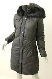 Details About Larry Levine Black Fur Trim Hooded Down Coat S 275