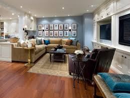 ... Charming Basement Interior With Various Basement Wall Color : Endearing  Basement Living Room Decoration Using Light ...