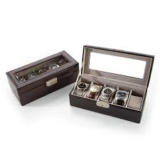 personalized leather 5 slot watch boxes at brookstone buy now