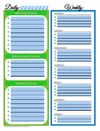 Editable Daily Weekly Chore Schedule Blank Version