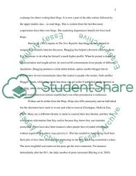 My Cyber Identity Blog Essay Example Topics And Well