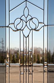 majestic glass clear beveled glass and a smoked glass border with patina caming low privacy level