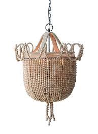 22 round x 33 h metal wood bead chandelier w 3 lights creative co op