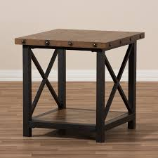 industrial style outdoor furniture. Herzen Rustic Industrial Style Antique Black Textured Finished Metal Distressed Wood Occasional End Table Outdoor Furniture