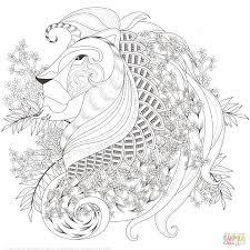Disegno Di Leone Con Elementi Floreali Zentangle Da Colorare Con