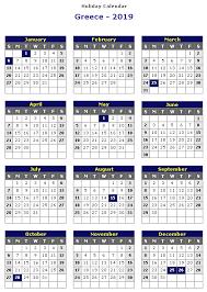 Calendar 2019 Printable With Holidays Greece 2019 Printable Holiday Calendar Printable Hub