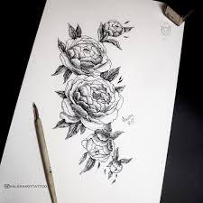 тату эскиз пионы цветы графика татуировка пион Tattoo Peony