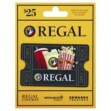 Regal Entertainment Group Gift Card Movie 25 1 Each