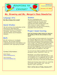 Class Newsletter A C Ms Browning And Ms Morgans Class Newsletter