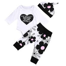autumn winter cute newborn baby s clothes cotton tops long sleeve romper fl leggings pants hat