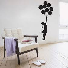 Banksy Balloon Little Girl Dress Wallpaper Wall Sticker Decal Mural Vinyl  Graphic For Kids Baby Room 45x120cm Home Decoration In Wall Stickers From  Home ...