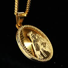 gold guadalupe the virgin mary and baby christ medal pendant w 3mm 24 miami cuban 67095