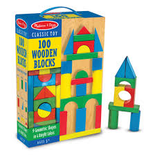 melissa doug wooden building blocks set 100 blocks in 4 colors and 9 shapes com