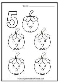 Small Picture Coloring Numbers Fruits Theme