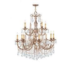 12 light clear hand cut crystal chandelier