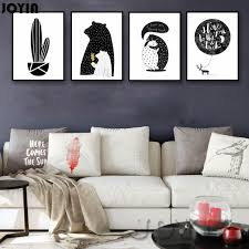 black and white office decor. Nordic Baby Bear Cactus Wall Art Canvas Poster Print Minimalist Black White Paintings For Living Room And Office Decor L