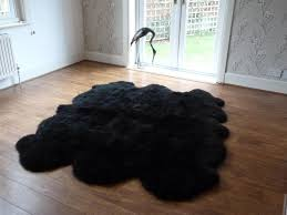 black sheepskin rug. Black Sheepskin Rug