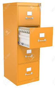 open file cabinet. Orange File Cabinet Open Drawer With Files Lock And Key Stock Photo - 24477805