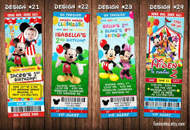 Mickey Mouse Clubhouse 2nd Birthday Invitations Mickey Mouse Clubhouse Birthday Party Ticket Photo Invitations Custom