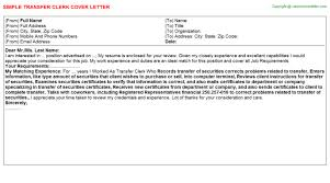 Vehicle Title Clerk Job Cover Letters