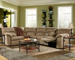 furniture beige sectional recliner couch with simple tufted back high design feat round coffee table beige sectional living room
