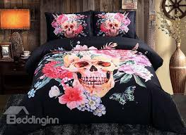81 sugar skull with blooming flowers printed cotton 4 piece black 3d bedding sets