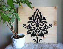 wood wall art damask painting elegant pattern wooden sign elegant design  on damask wood wall art with wood wall art damask painting elegant pattern wooden sign