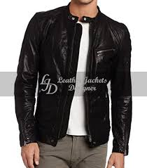 mens jet black lamb wash motorcycle leather jacket front