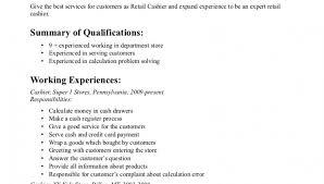 Resumes Good Sample Retail Cashier Resume Format Plus Employment
