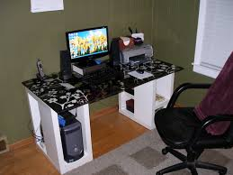 popular home office computer. Furniture. White Wooden Computer Desk With Black Top On Brown Woodne Floor Connected By Khaki Popular Home Office B