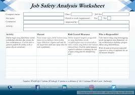Job Hazard Analysis Worksheet Hazard Analysis Worksheet Examples And Job Safety Analysis Tagua
