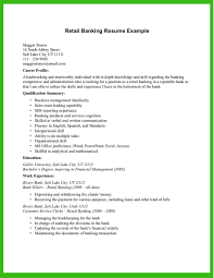 Resumes Retail Banking Resume Example Examples Templates For Sample