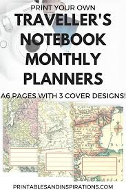 Monthly Calendar Notebook Diy Travelers Notebook Printable Planner Printables And