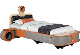 bed. Star Wars Landspeeder™ Orange 5 Pc Twin Panel Bed With Engine Storage Night Tables - Beds Colors