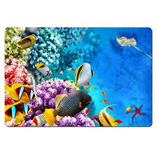 coloranimal welcome front door mats tropical fish in the ocean funny rectangle area rugs entrance entry way doormat soft rubber backing heavy duty carpet