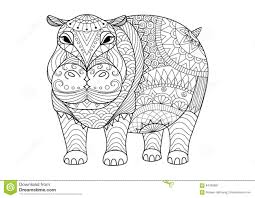 Small Picture Hand Drawn Zentangle Hippopotamus For Coloring Book For Adult