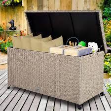 Deuba <b>Garden Storage Box Poly</b> Rattan Outdoor Indoor Chest Patio ...