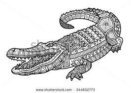 Small Picture Zentangle Crocodile Coloring Page Vector Illustration Stock Vector