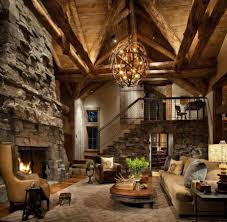 rustic interior design with wood vaulted ceiling and stone fireplace idea feat funky chandelier photo