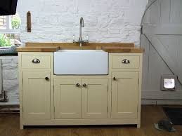 freestanding befast sink unit hand painted in dulux heritage cream
