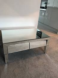 shabby chic beautiful mirrored glass coffee table with two drawers