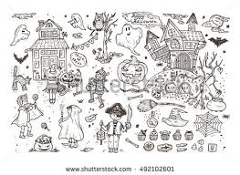 halloween costumes coloring pages happy halloween set hand drawn doodle stock vector 492102601