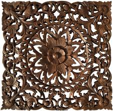 oriental floral carved teak wood wall art plaque square rustic home decor 24  on tiki wood wall art with asian home decor unique wall art wood carved wall plaques asiana