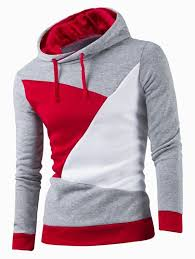 <b>IZZUMI</b> Stylish Color Block Spliced Slim Fit Long Sleeve Hoodies ...