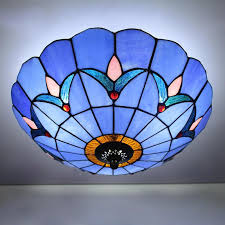 lights stained glass flush mount big ceiling light fixture in