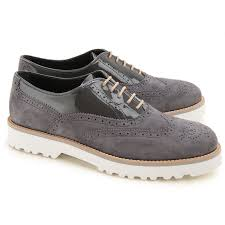 hogan suede leather patent leather oxfords women grey larger image