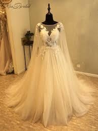 Elegant Long Gown Design 2018 Us 279 0 New Design Elegant Long Wedding Dress 2018 Scoop Long Sleeves Chapel Train A Line Appliques Lace Tulle Wedding Gowns Vestidos In Wedding